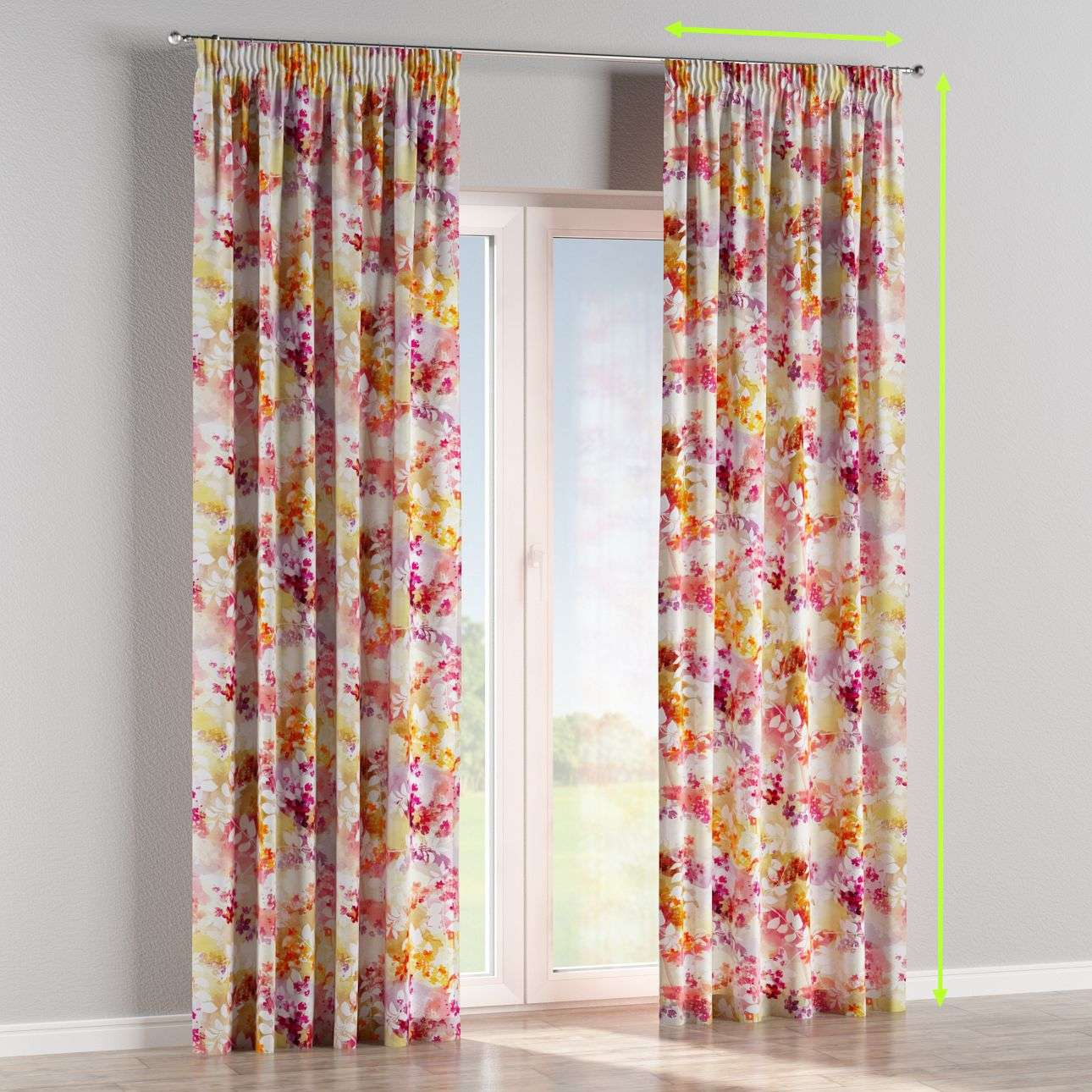 Pencil pleat lined curtains in collection Monet, fabric: 140-05