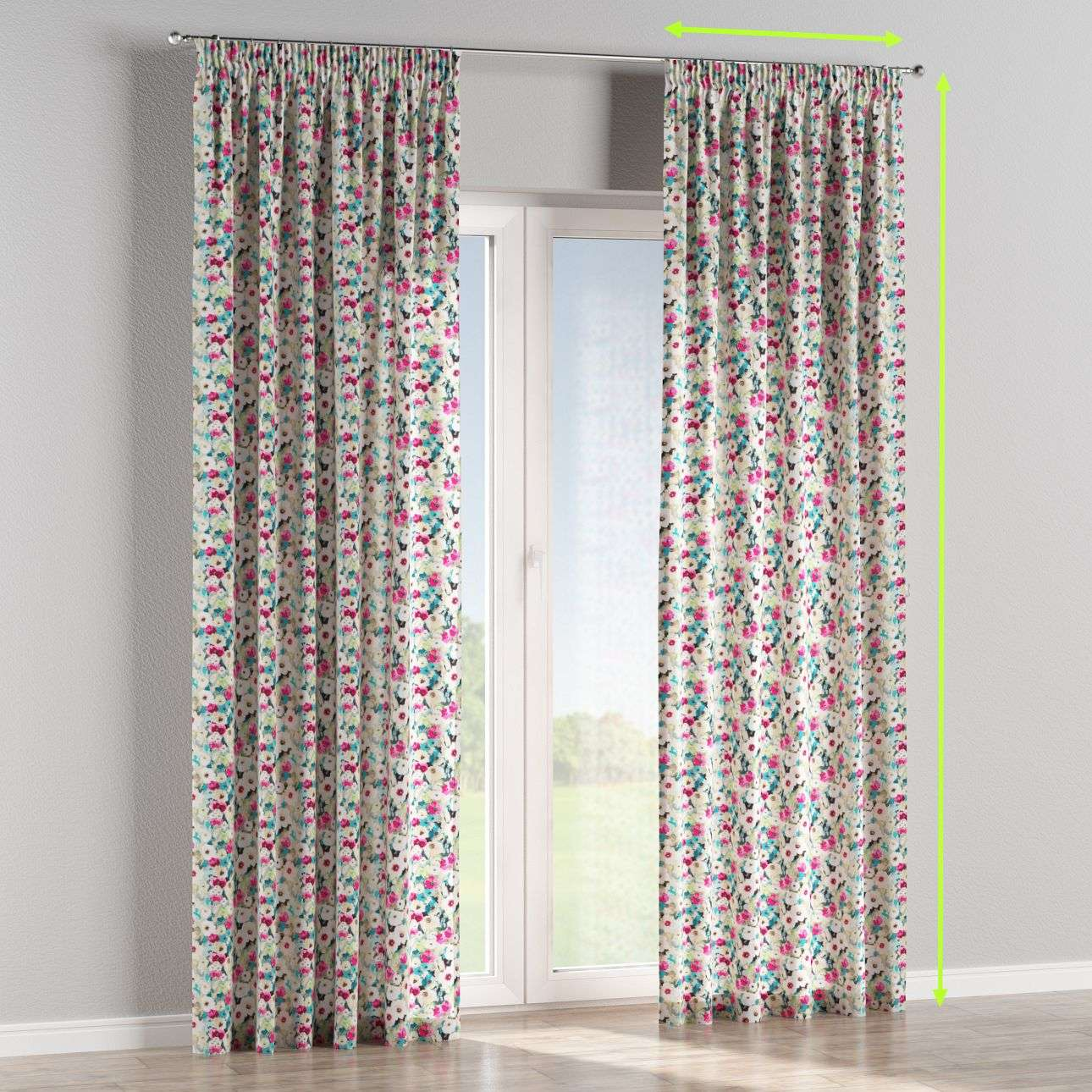 Pencil pleat lined curtains in collection Monet, fabric: 140-10