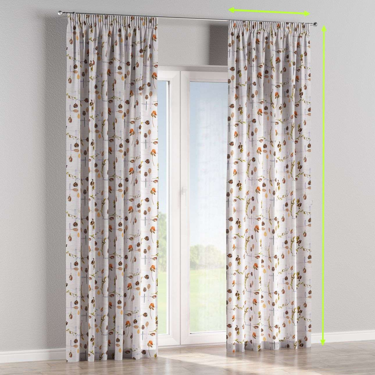 Pencil pleat lined curtains in collection Flowers, fabric: 140-11