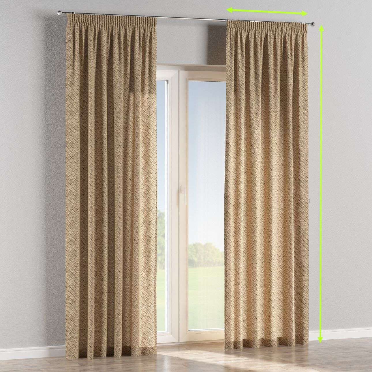 Pencil pleat lined curtains in collection Marina, fabric: 140-17