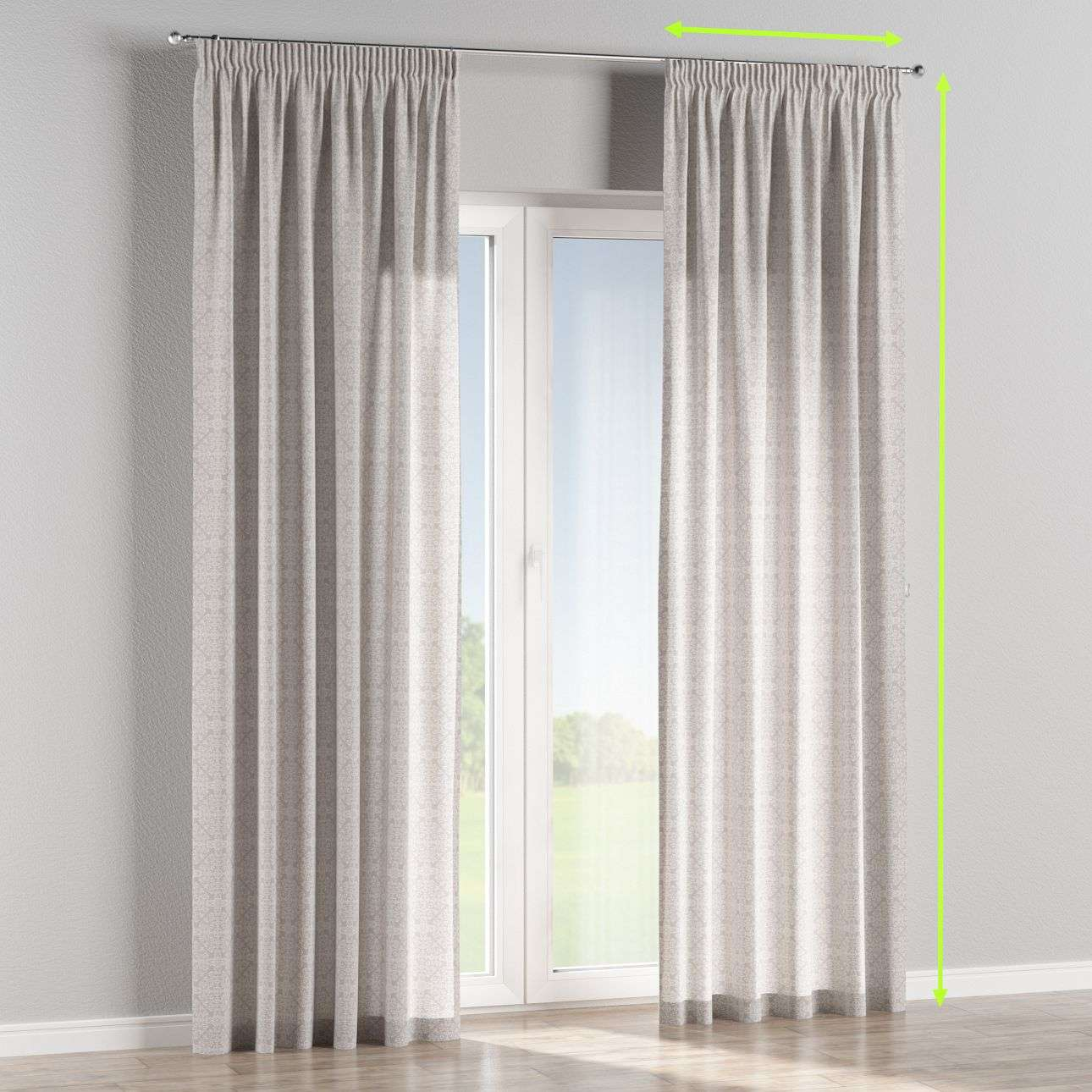 Pencil pleat lined curtains in collection Flowers, fabric: 140-38