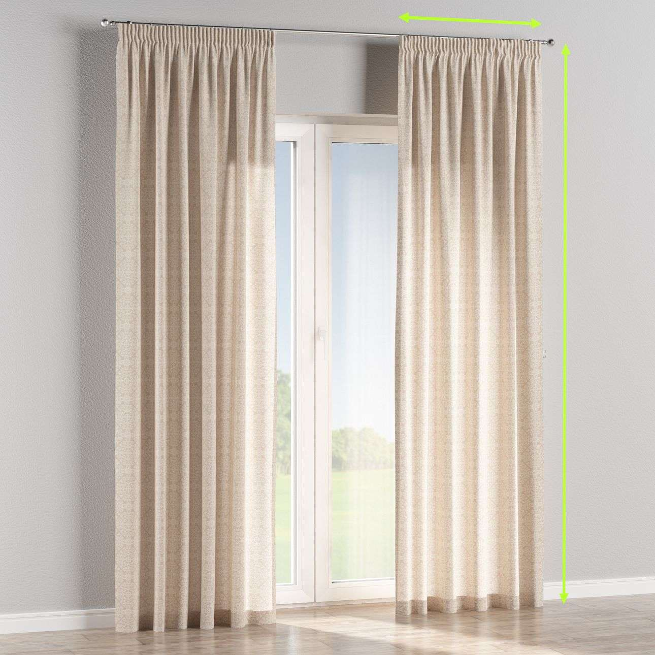 Pencil pleat lined curtains in collection Flowers, fabric: 140-39