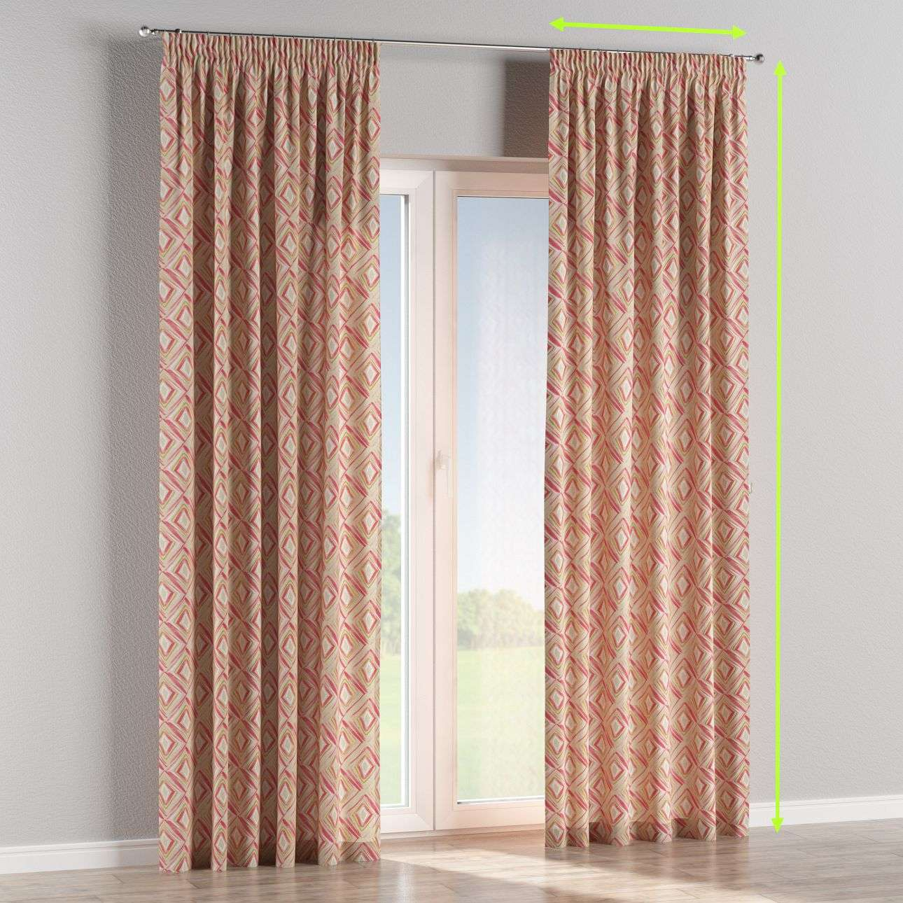 Pencil pleat lined curtains in collection Londres, fabric: 140-45