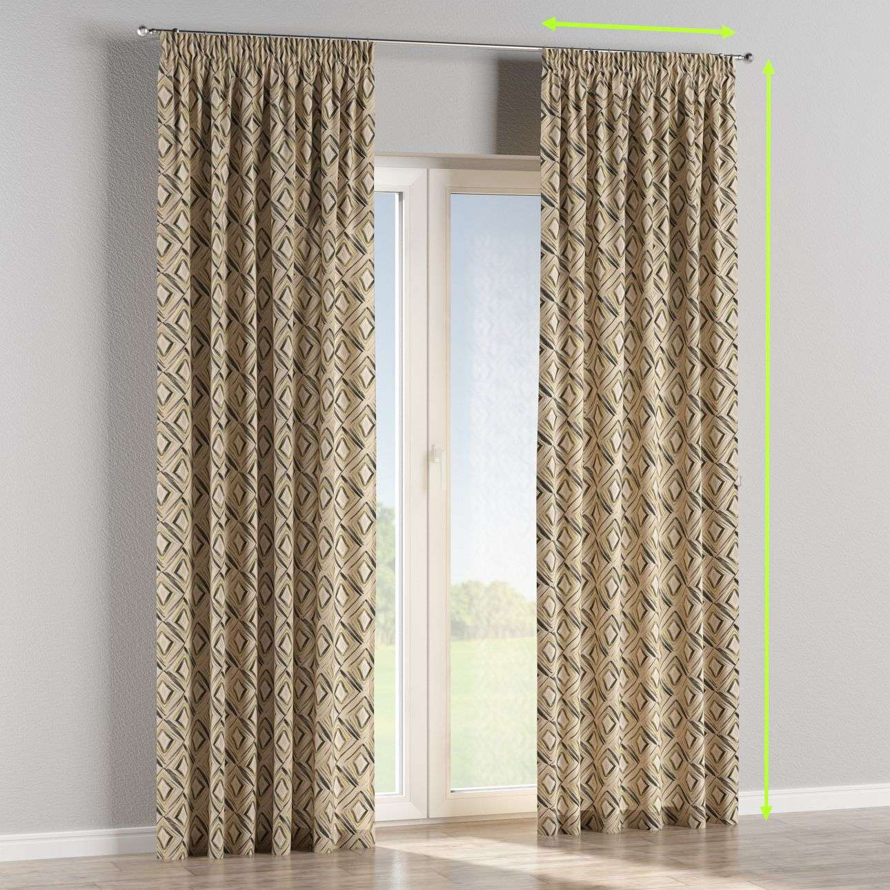 Pencil pleat lined curtains in collection Londres, fabric: 140-46
