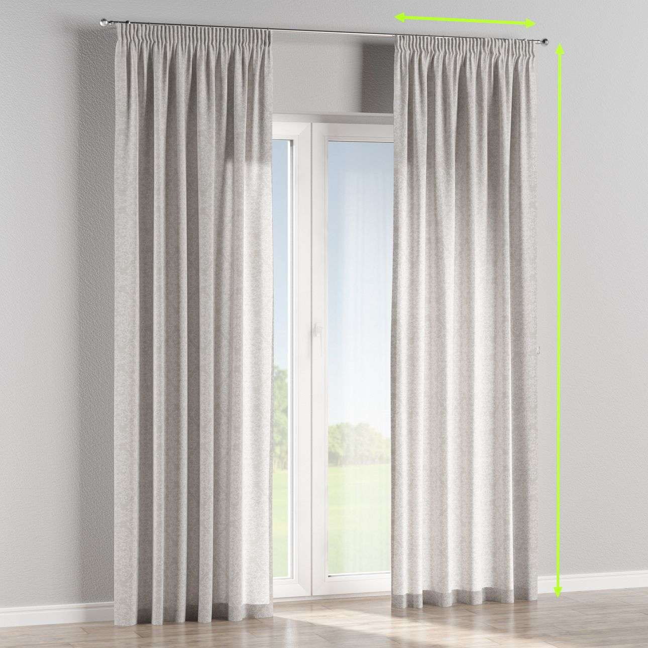 Pencil pleat lined curtains in collection Venice, fabric: 140-49