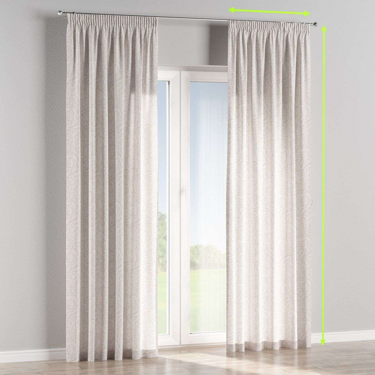 Pencil pleat lined curtains in collection Venice, fabric: 140-50