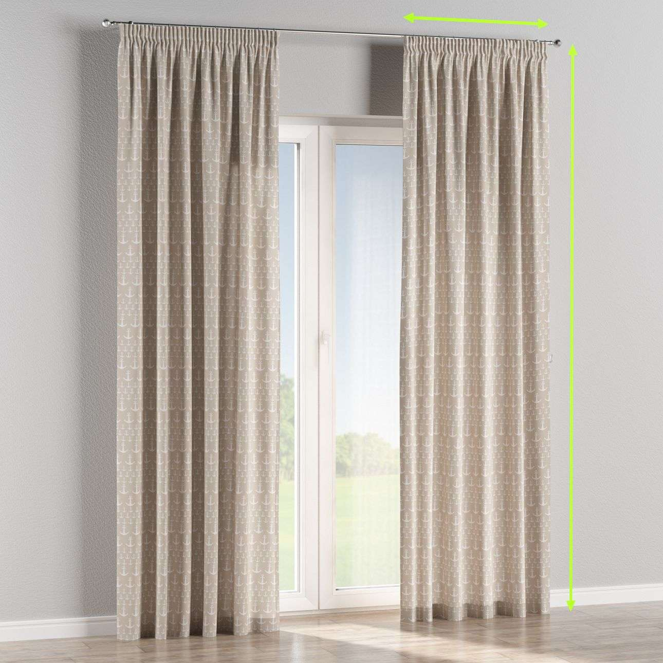 Pencil pleat lined curtains in collection Marina, fabric: 140-63