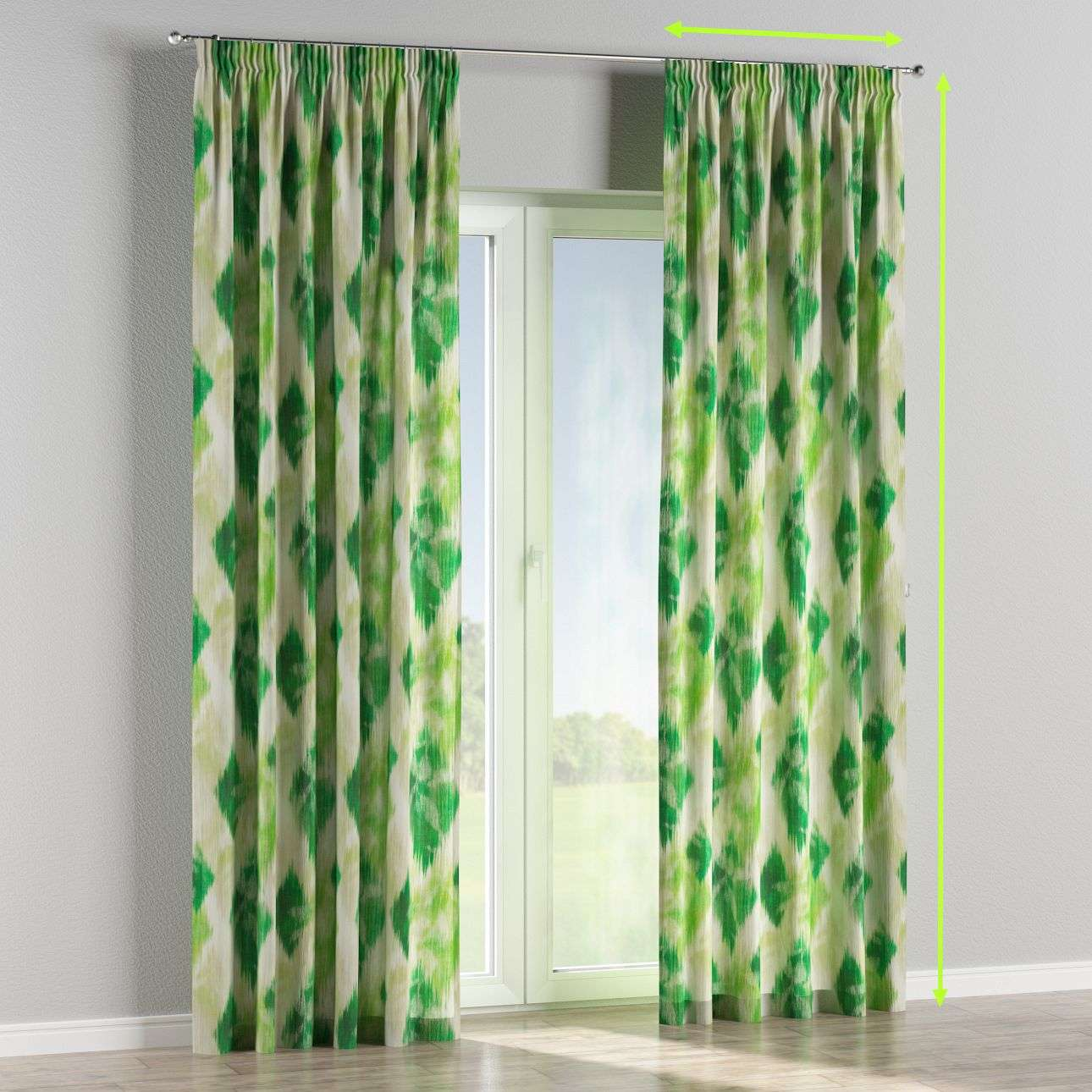 Pencil pleat lined curtains in collection Aquarelle, fabric: 140-70