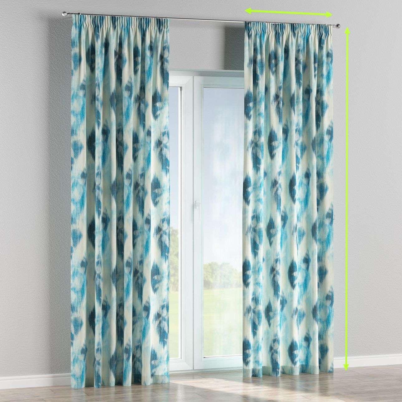 Pencil pleat lined curtains in collection Aquarelle, fabric: 140-71
