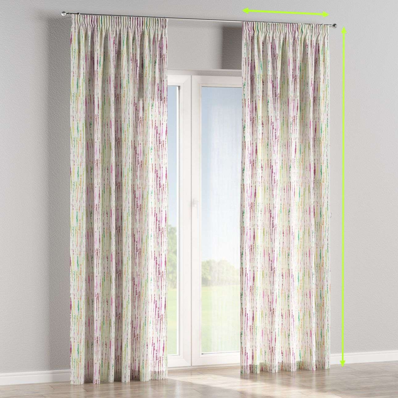 Pencil pleat lined curtains in collection Aquarelle, fabric: 140-72