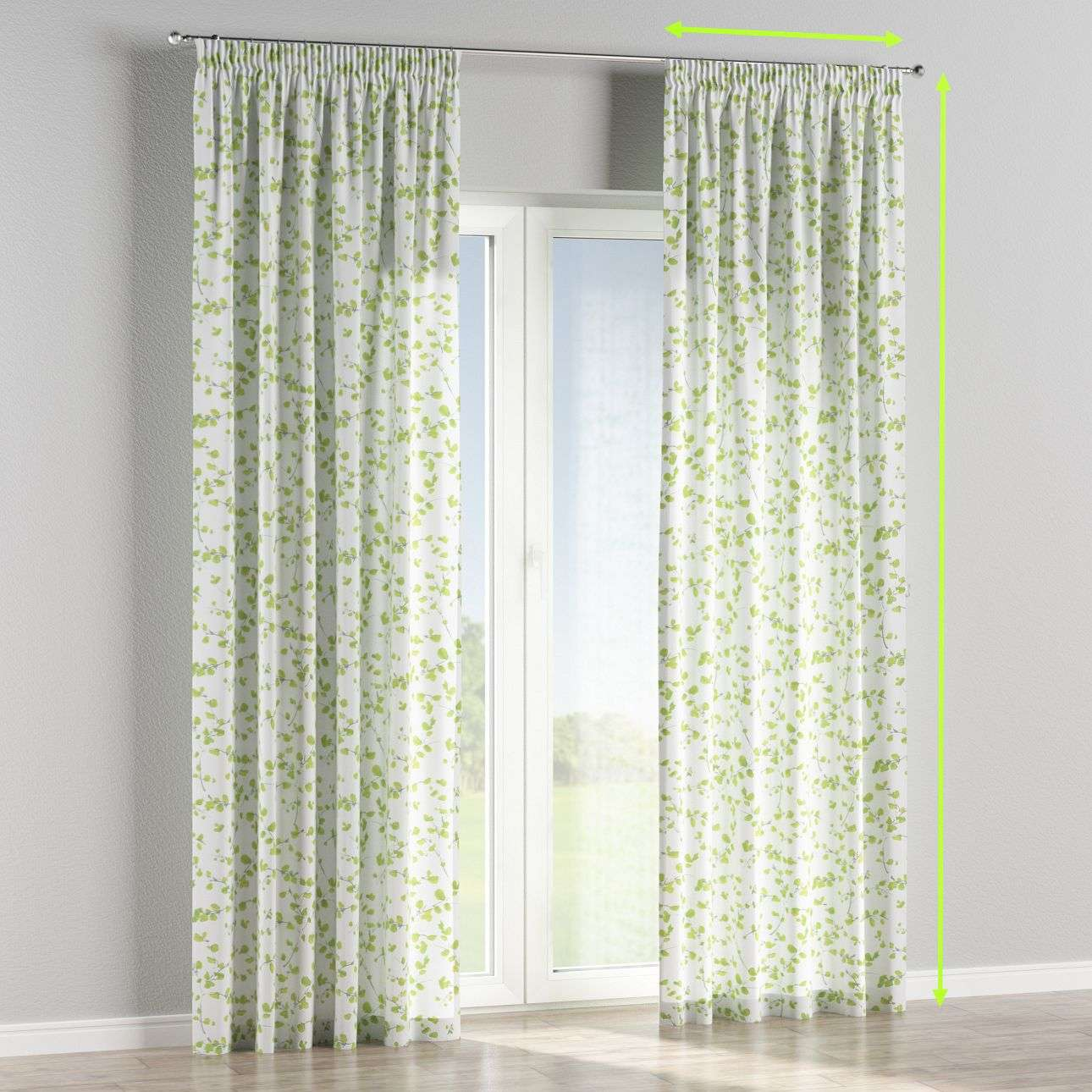 Pencil pleat lined curtains in collection Aquarelle, fabric: 140-76