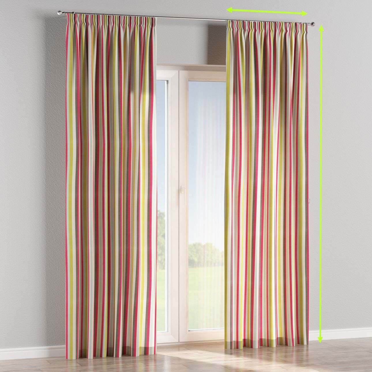Pencil pleat lined curtains in collection Norge, fabric: 140-81