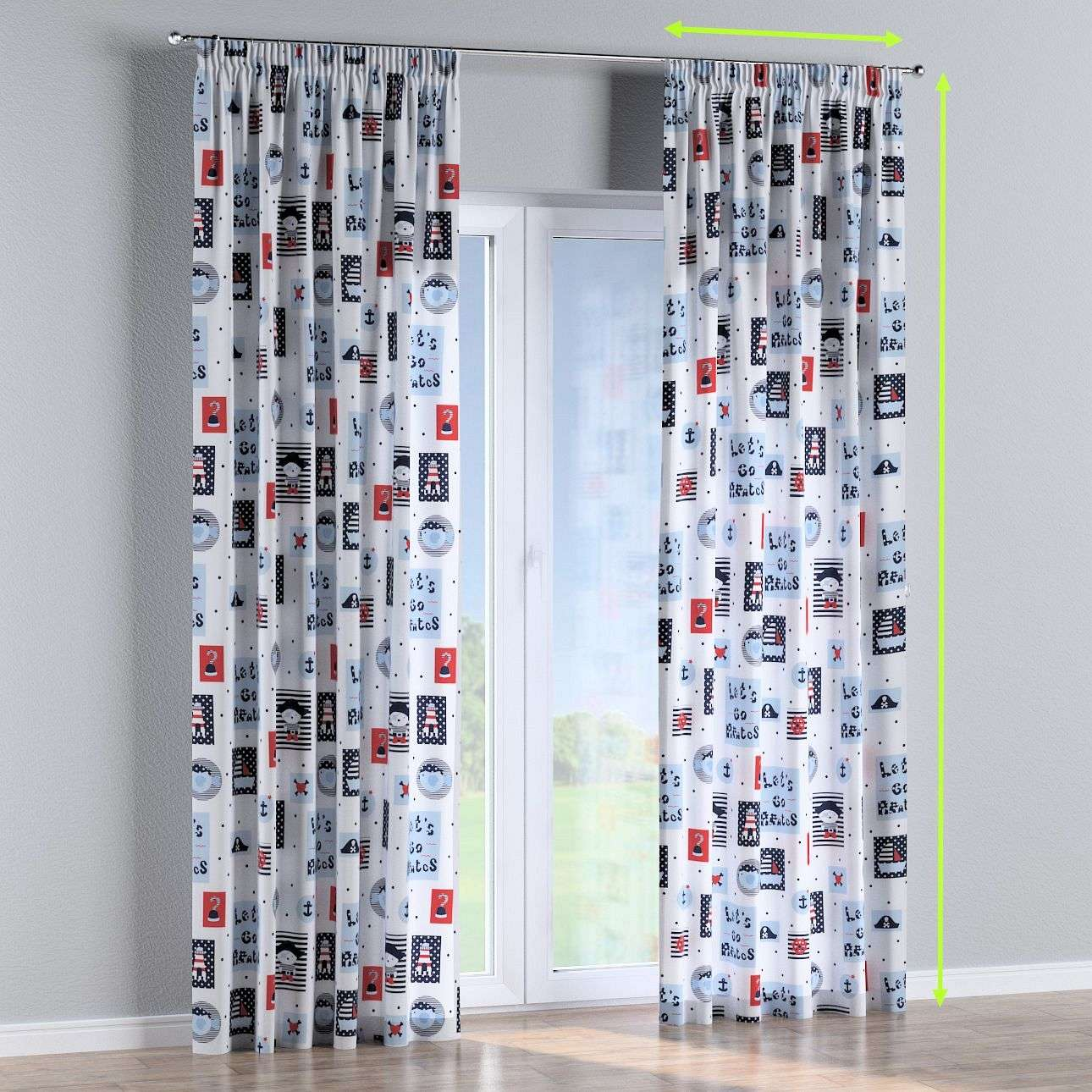 Pencil pleat lined curtains in collection Little World, fabric: 141-29