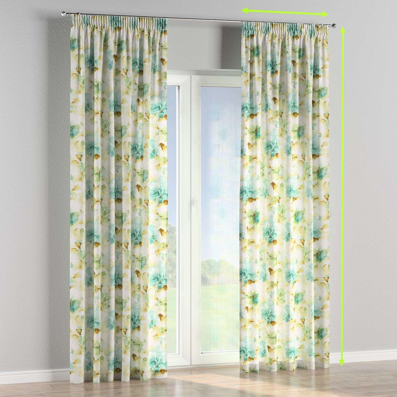 Pencil pleat lined curtains in collection Acapulco, fabric: 141-35
