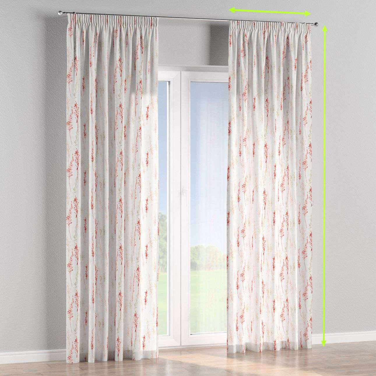 Pencil pleat lined curtains in collection Acapulco, fabric: 141-37