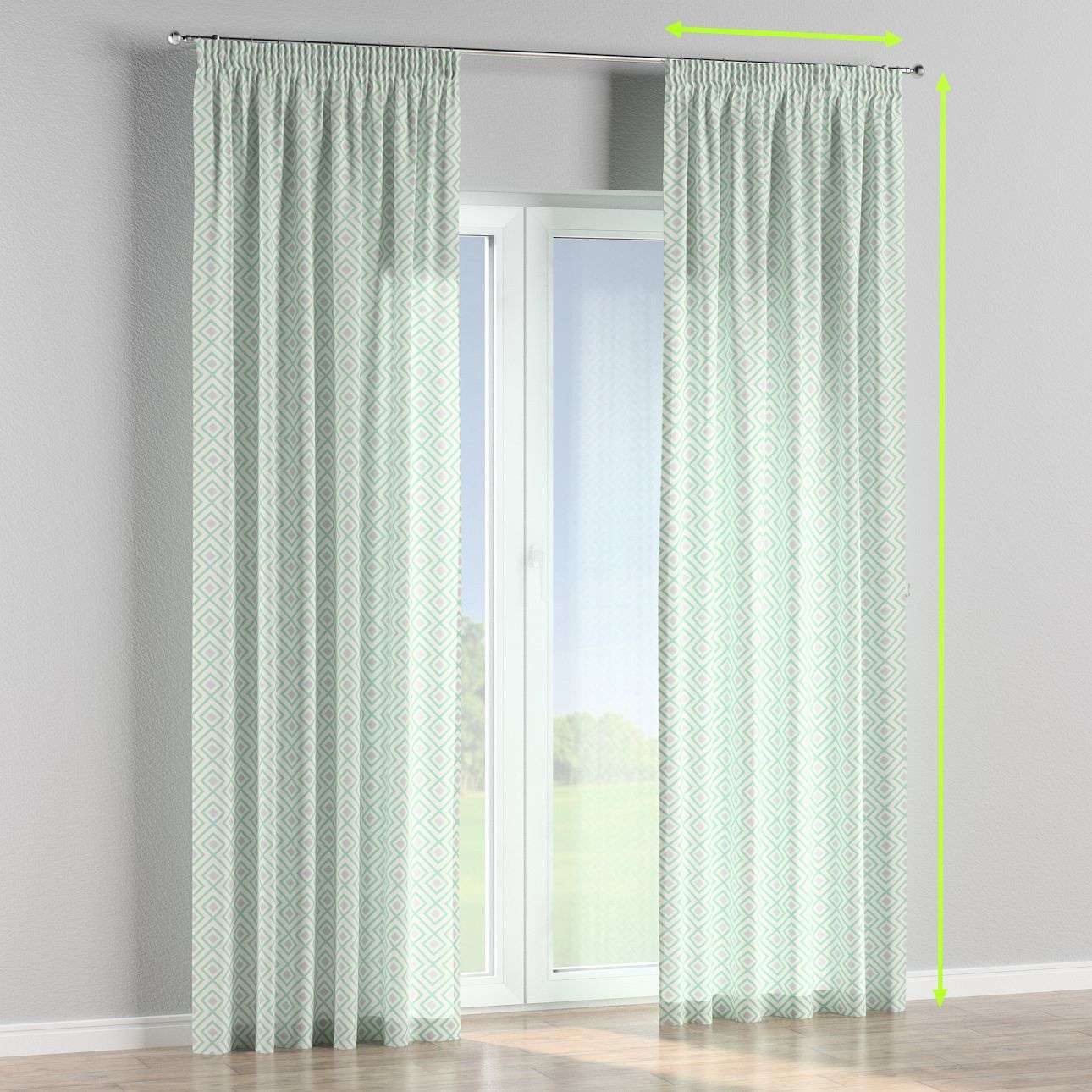 Pencil pleat lined curtains in collection Geometric, fabric: 141-45