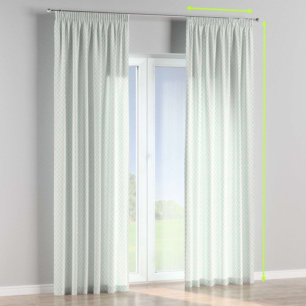 Pencil pleat lined curtains in collection Geometric, fabric: 141-47