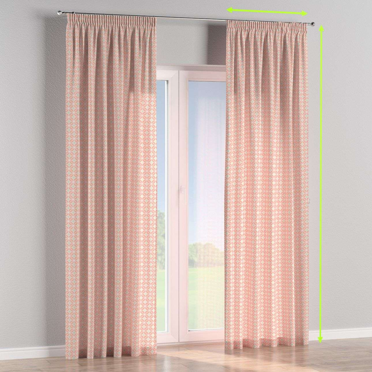 Pencil pleat lined curtains in collection Geometric, fabric: 141-48