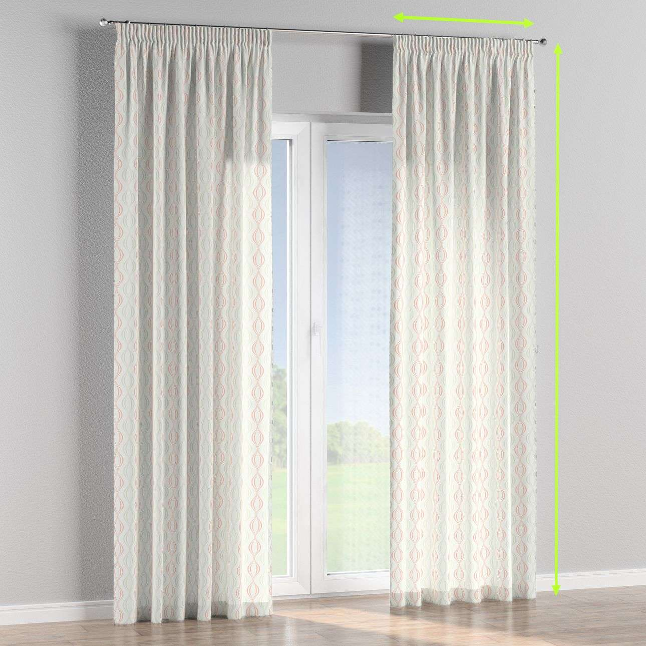 Pencil pleat lined curtains in collection Geometric, fabric: 141-49