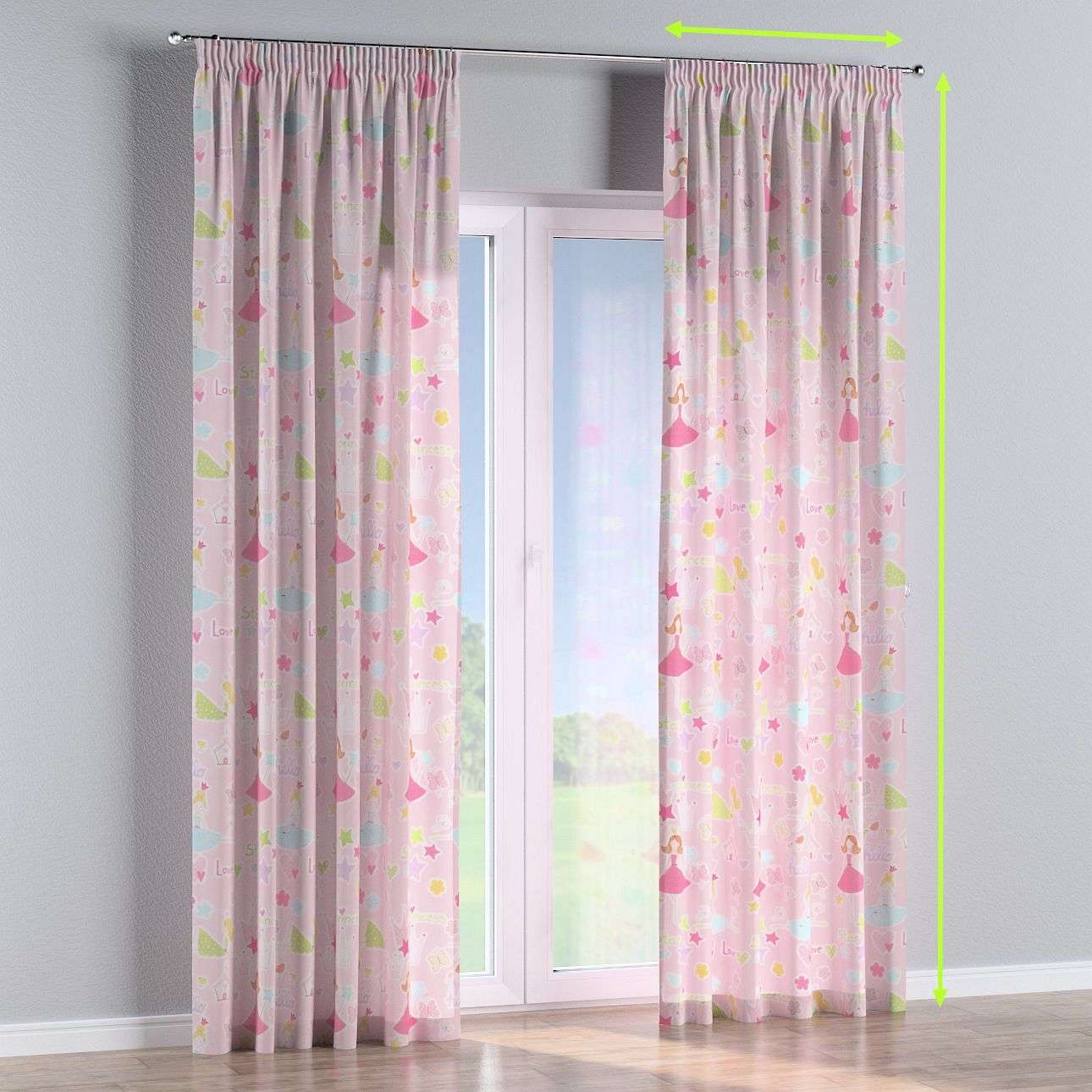 Pencil pleat lined curtains in collection Little World, fabric: 141-50
