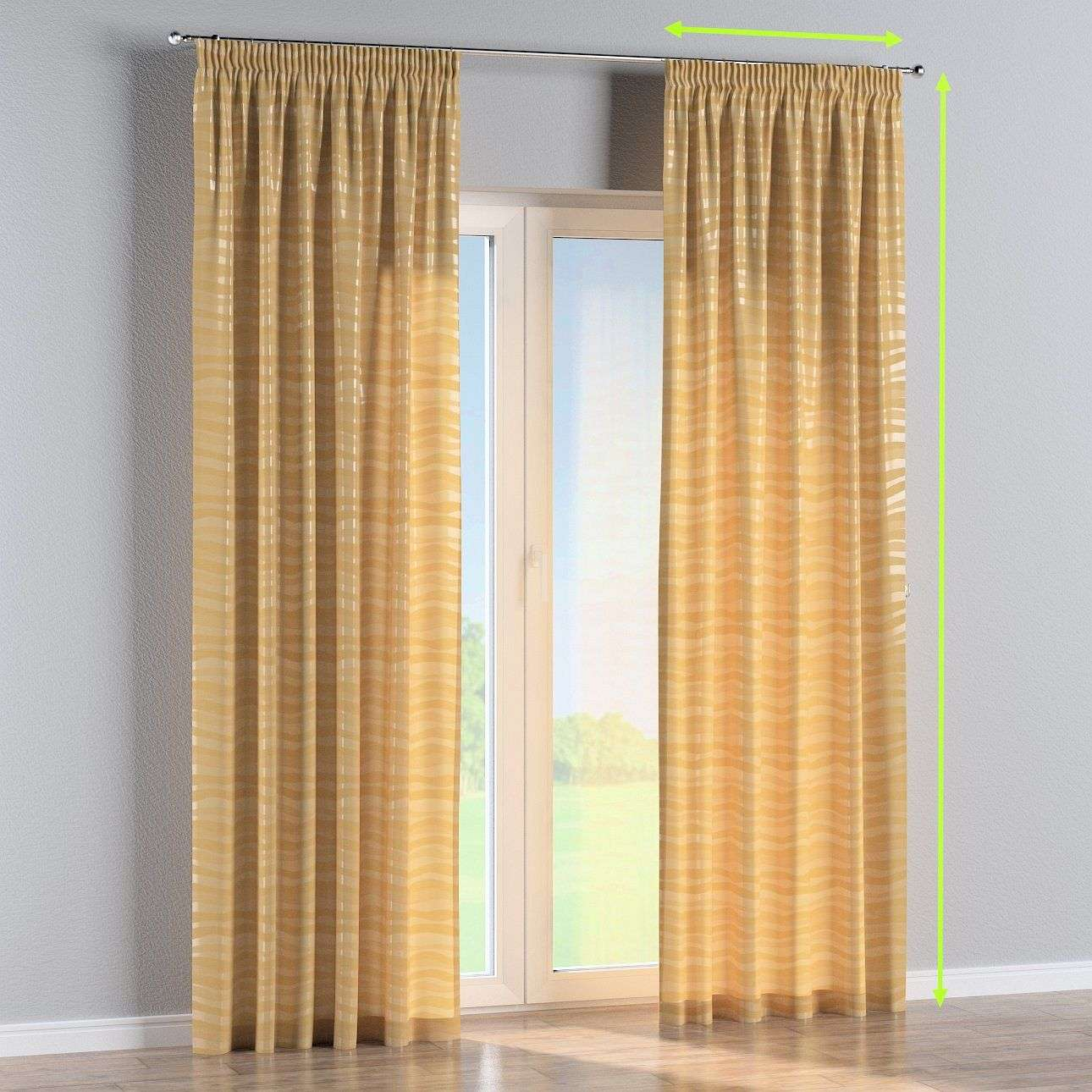 Pencil pleat lined curtains in collection Damasco, fabric: 141-74