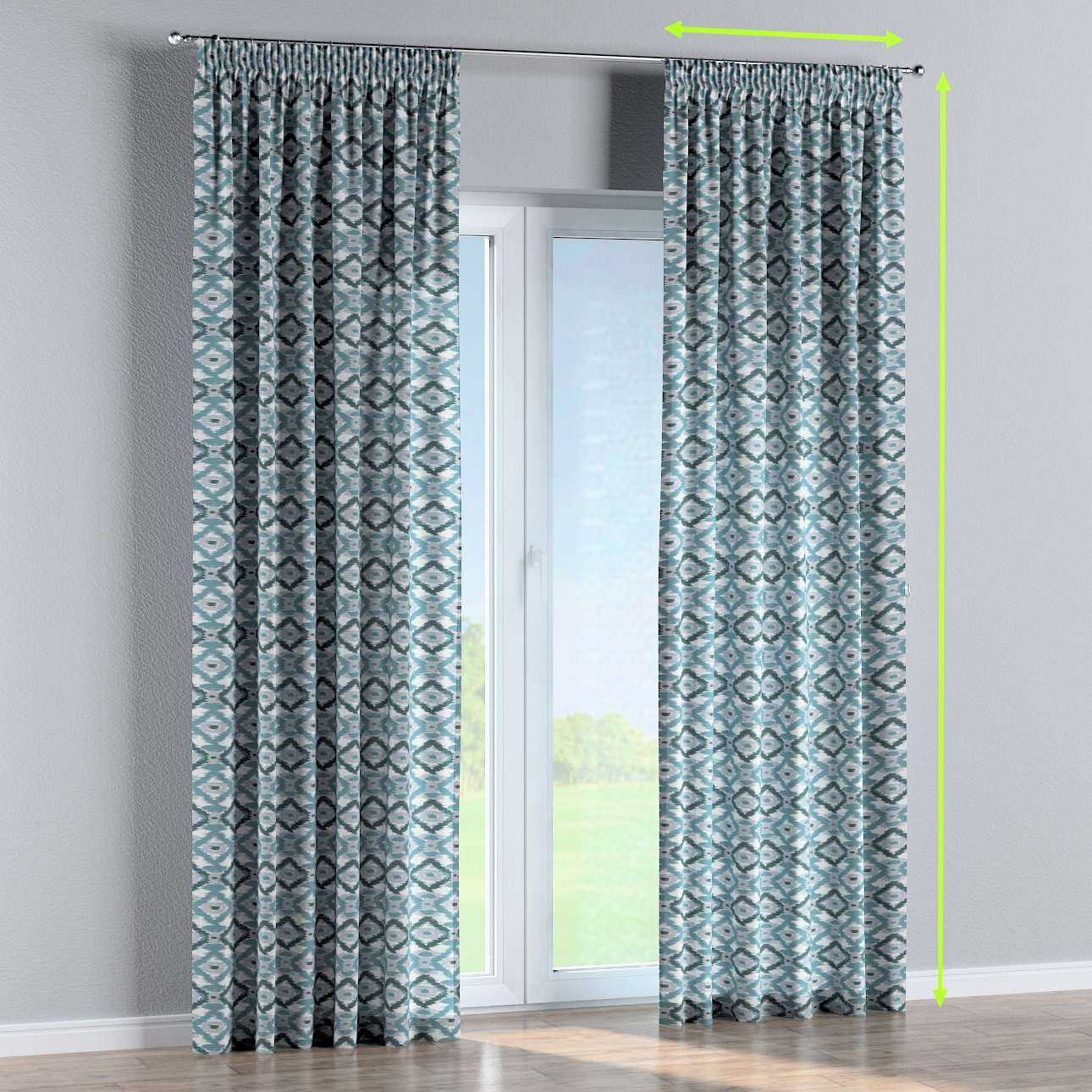 Pencil pleat lined curtains in collection Modern, fabric: 141-90
