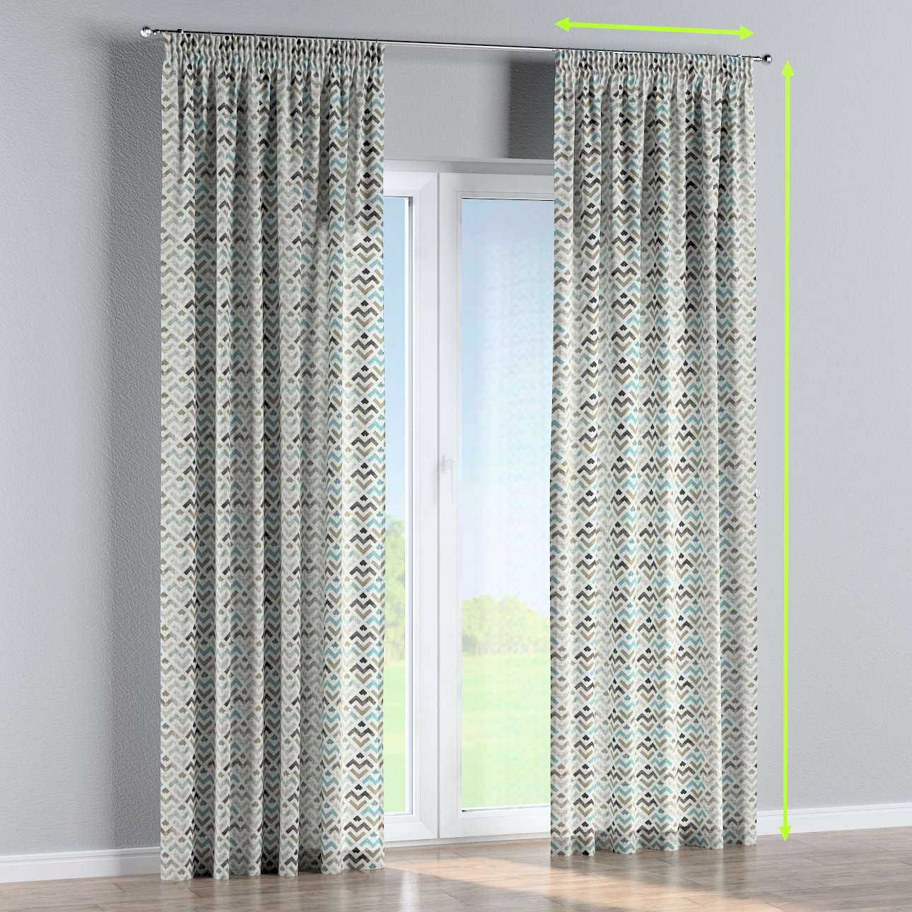 Pencil pleat lined curtains in collection Modern, fabric: 141-93