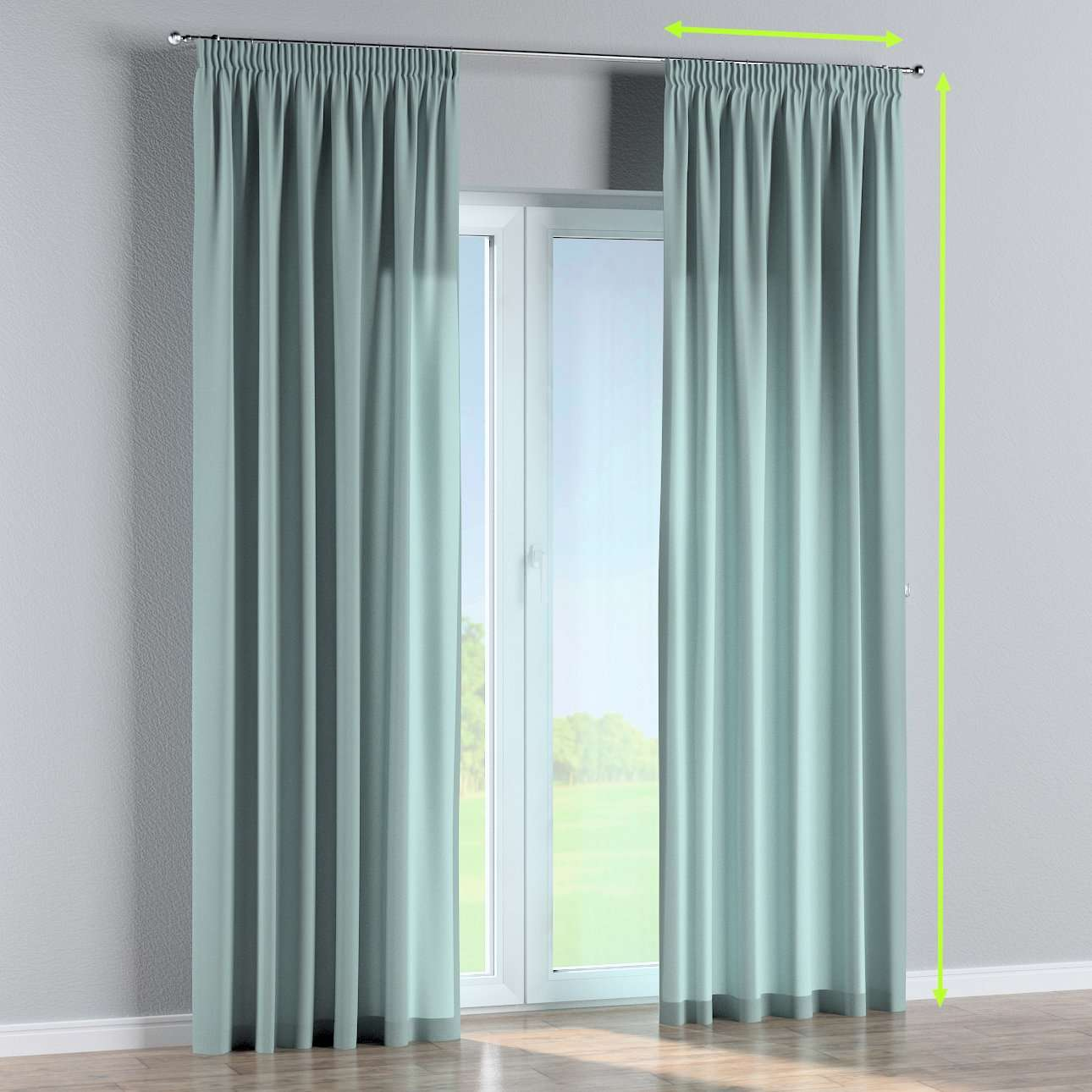 Pencil pleat lined curtains in collection Woolly, fabric: 142-39