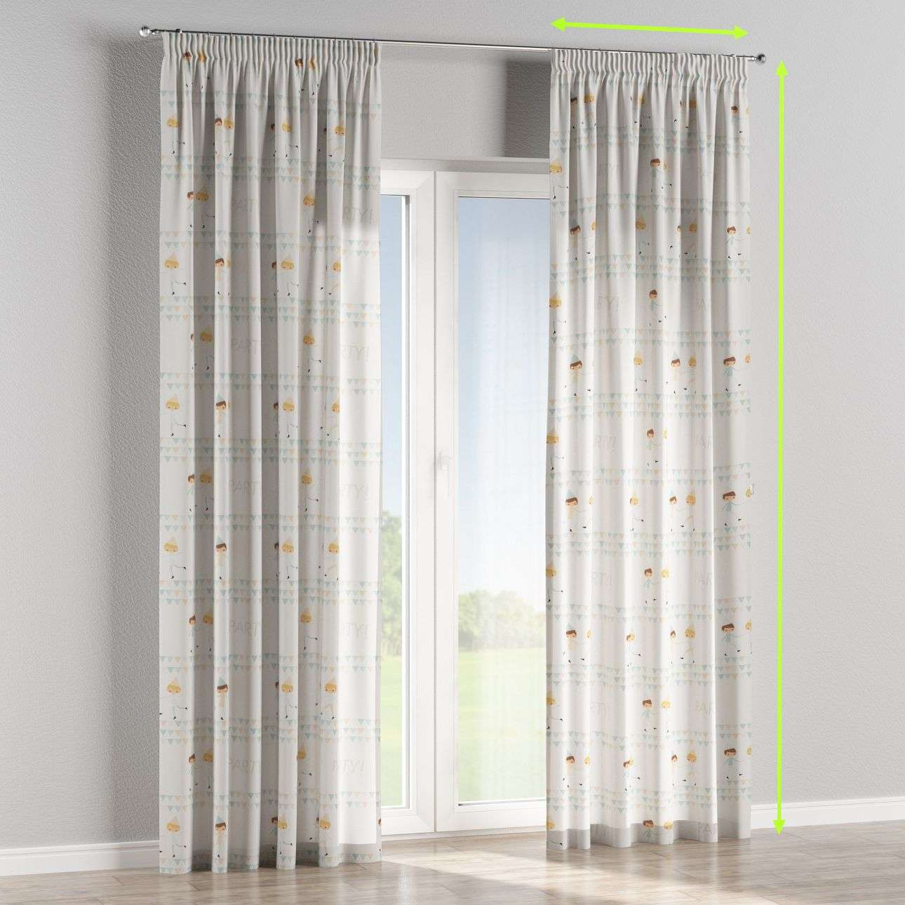 Pencil pleat lined curtains in collection Apanona, fabric: 151-01