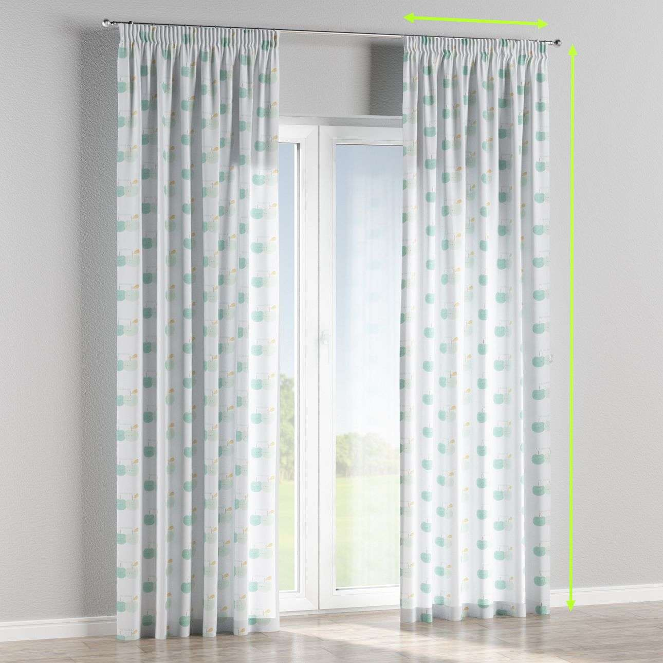 Pencil pleat lined curtains in collection Apanona, fabric: 151-02