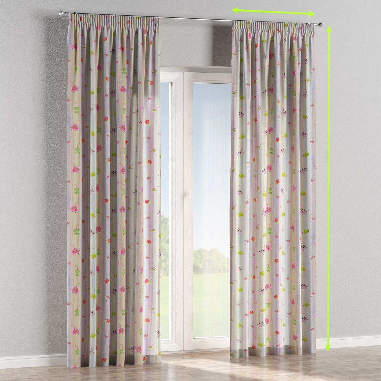 Pencil pleat lined curtains in collection Apanona, fabric: 151-05