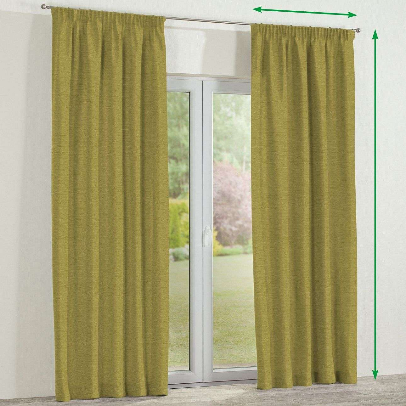 Pencil pleat lined curtains in collection Chenille, fabric: 160-47