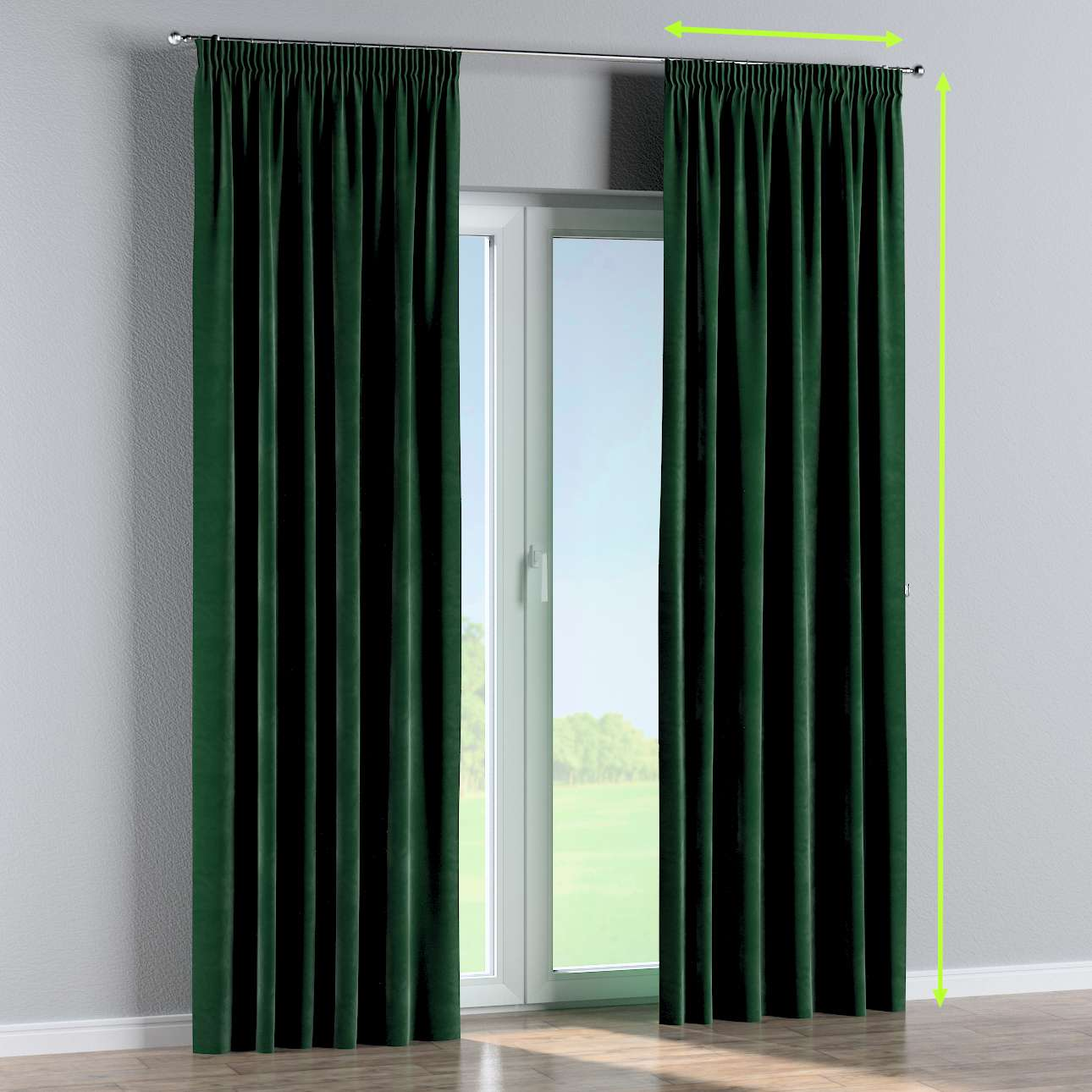 Pencil pleat lined curtains in collection Velvet, fabric: 704-13