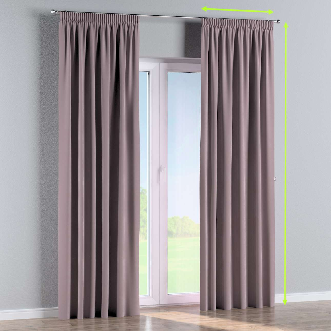 Pencil pleat lined curtains in collection Velvet, fabric: 704-14