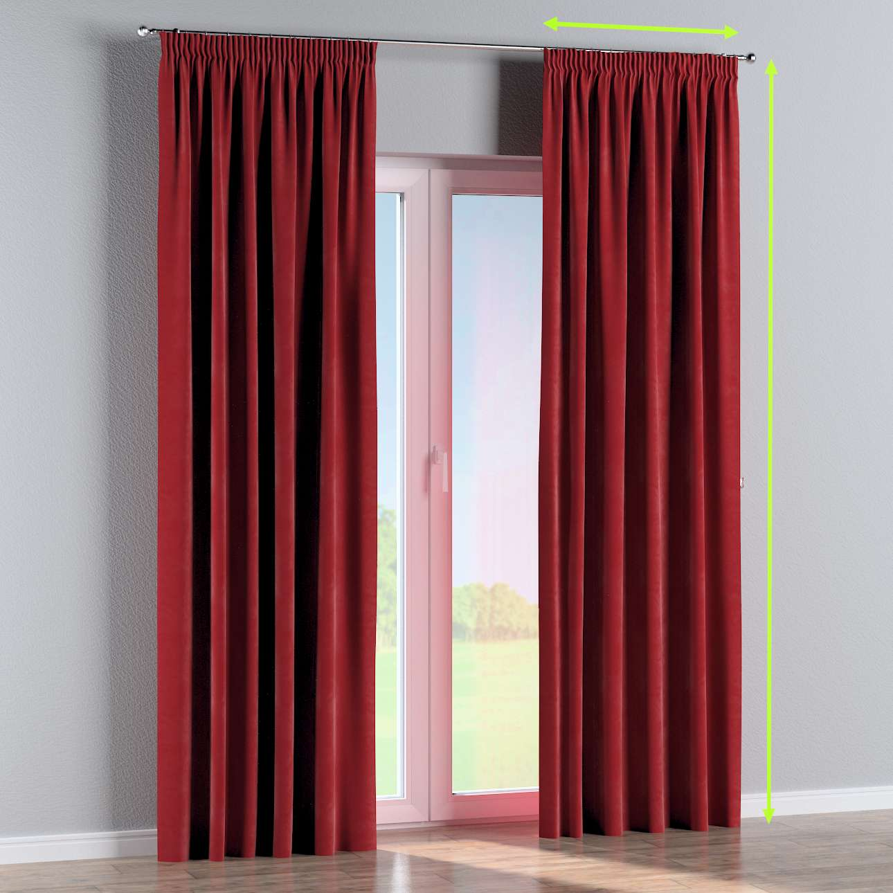 Pencil pleat lined curtain in collection Velvet, fabric: 704-15