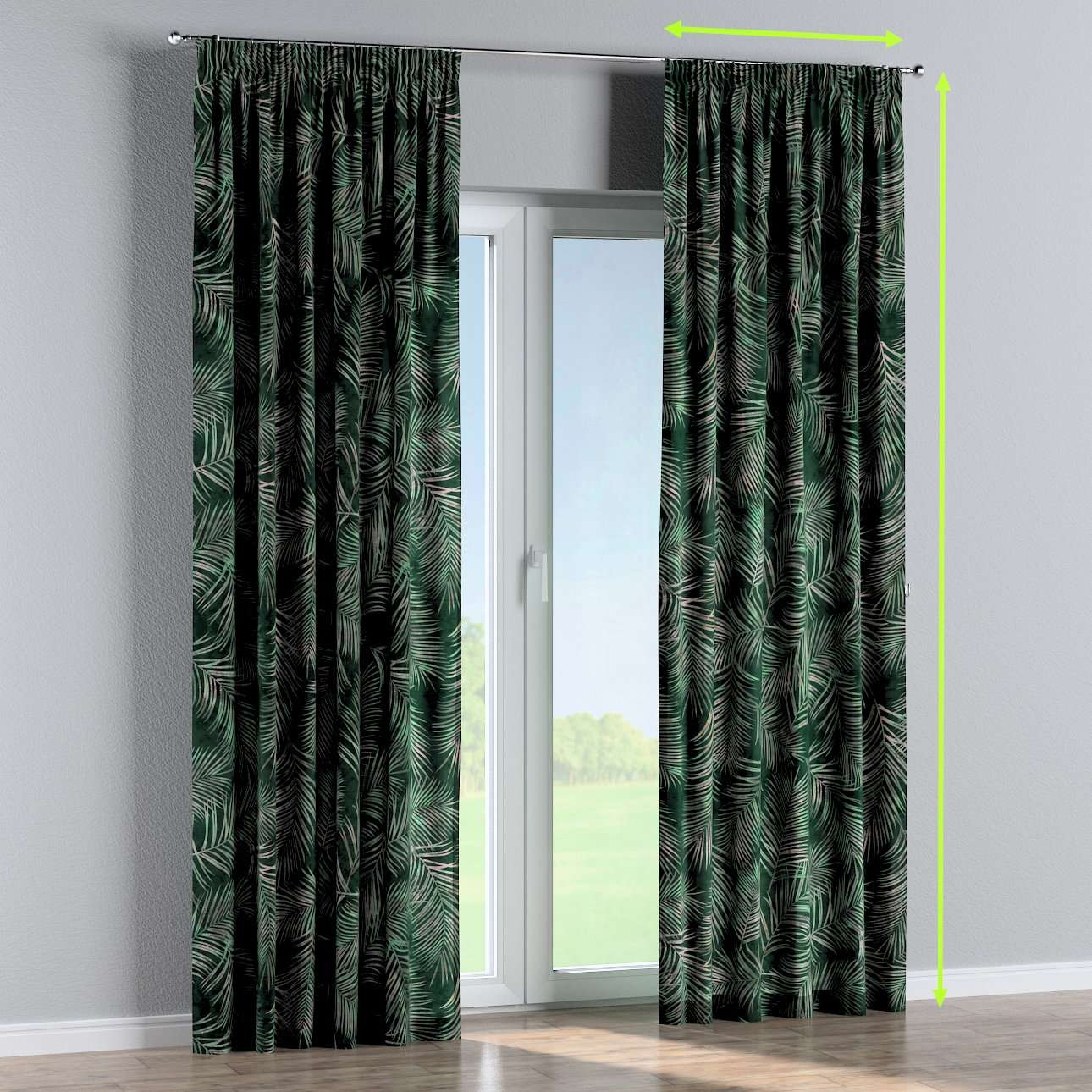 Pencil pleat lined curtains in collection Velvet, fabric: 704-21