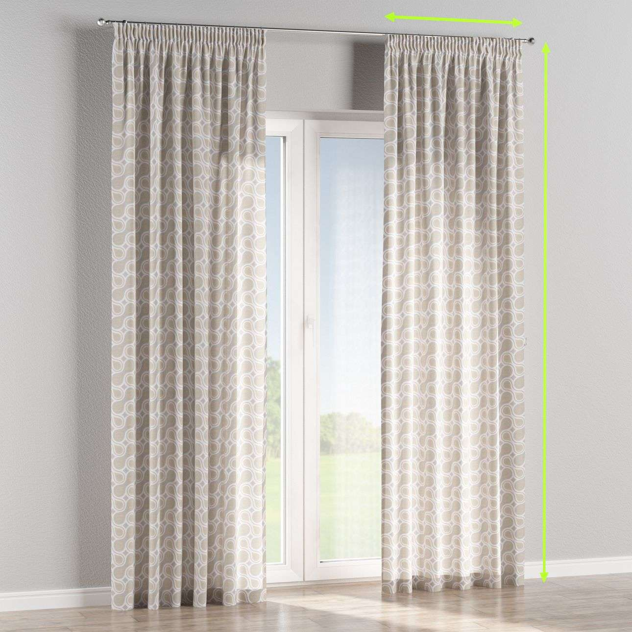 Pencil pleat lined curtains in collection Flowers, fabric: 311-11