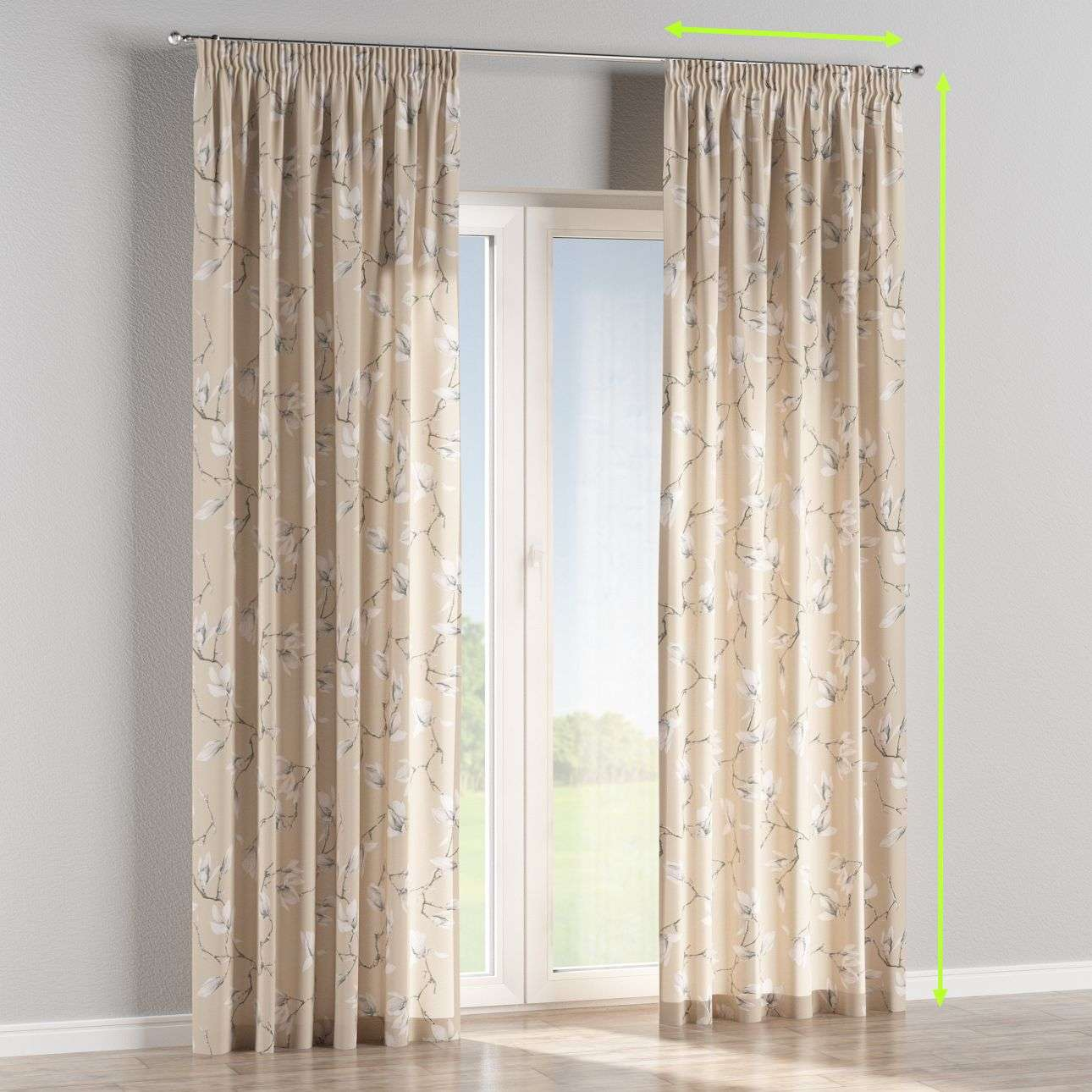 Pencil pleat lined curtains in collection Flowers, fabric: 311-12
