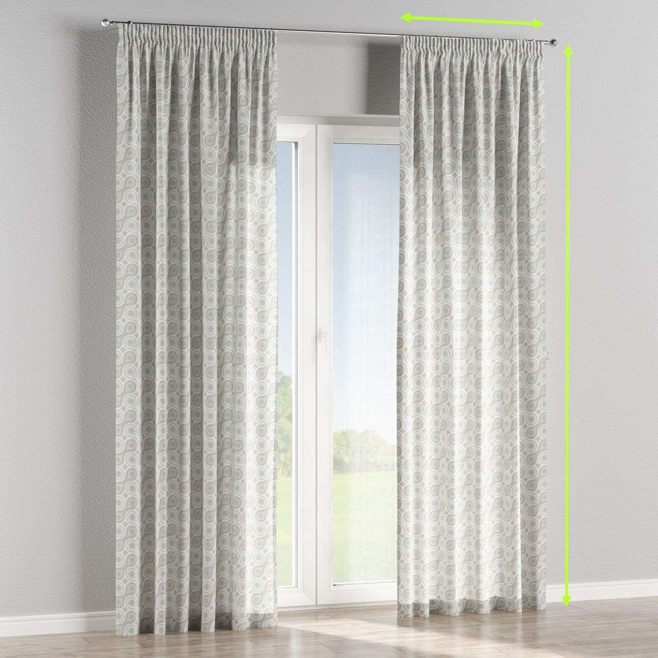 Pencil pleat lined curtains in collection Flowers, fabric: 311-13