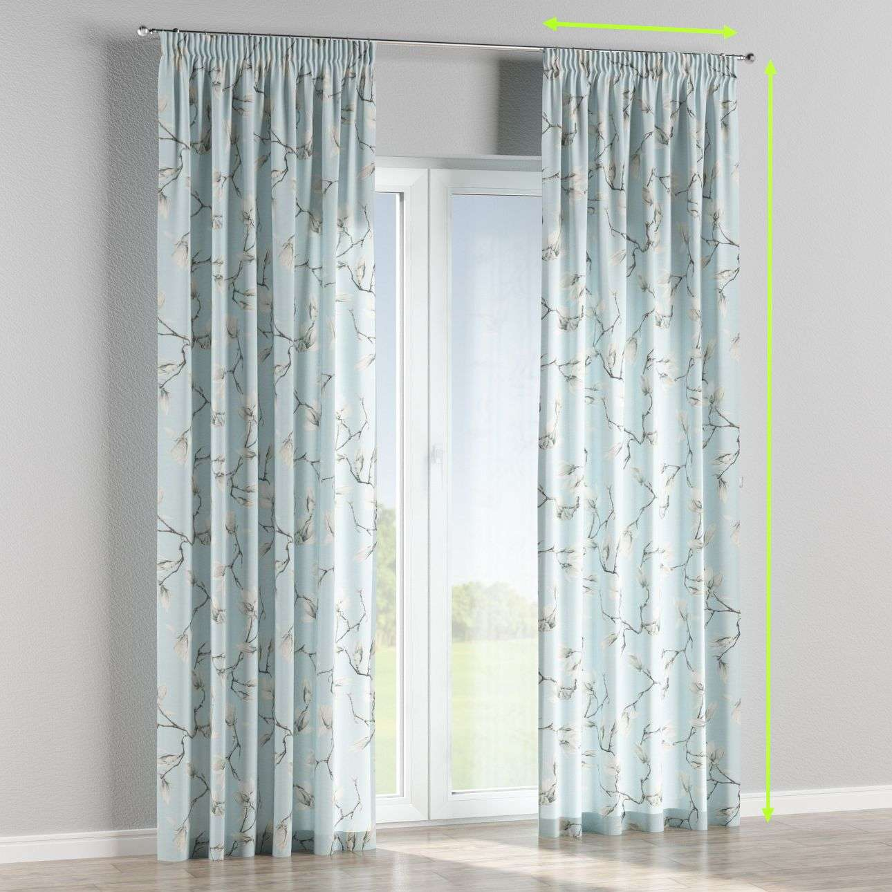 Pencil pleat lined curtains in collection Flowers, fabric: 311-14
