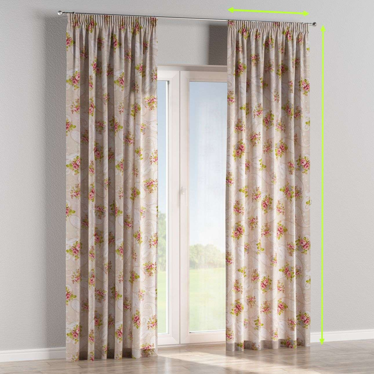 Pencil pleat lined curtains in collection Flowers, fabric: 311-15