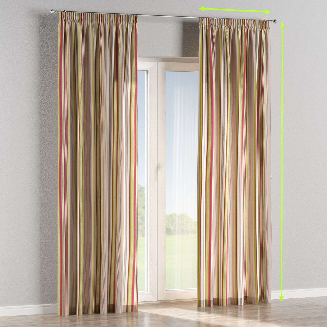 Pencil pleat lined curtains in collection Flowers, fabric: 311-16