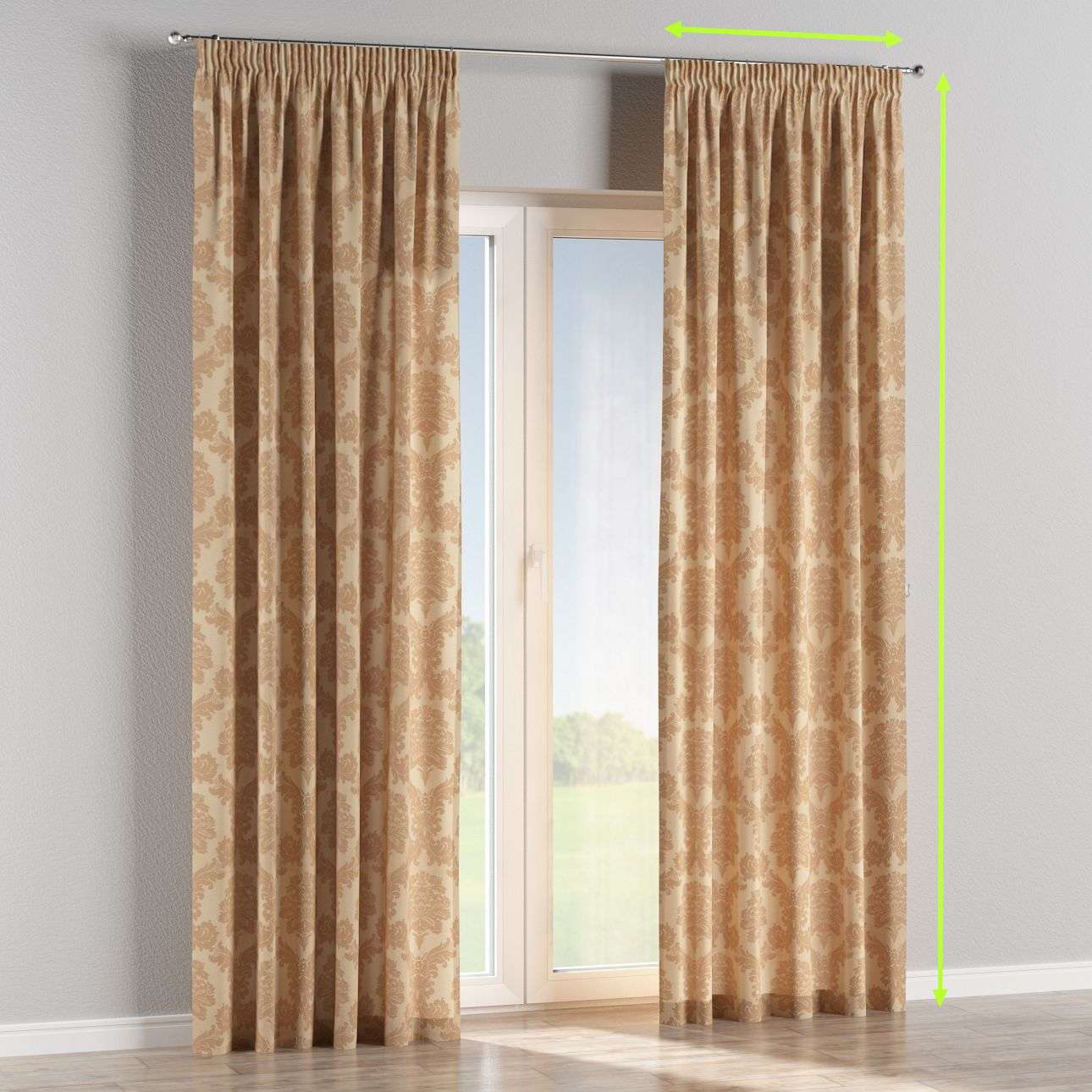 Pencil pleat lined curtains in collection Damasco, fabric: 613-04