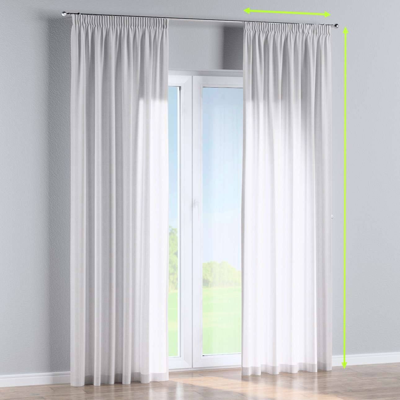 Pencil pleat lined curtains in collection Linen, fabric: 392-03