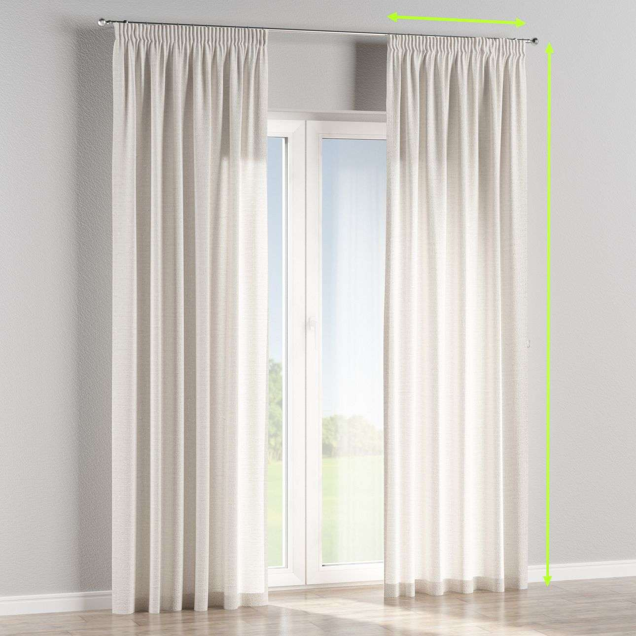 Pencil pleat lined curtains in collection Linen, fabric: 392-04