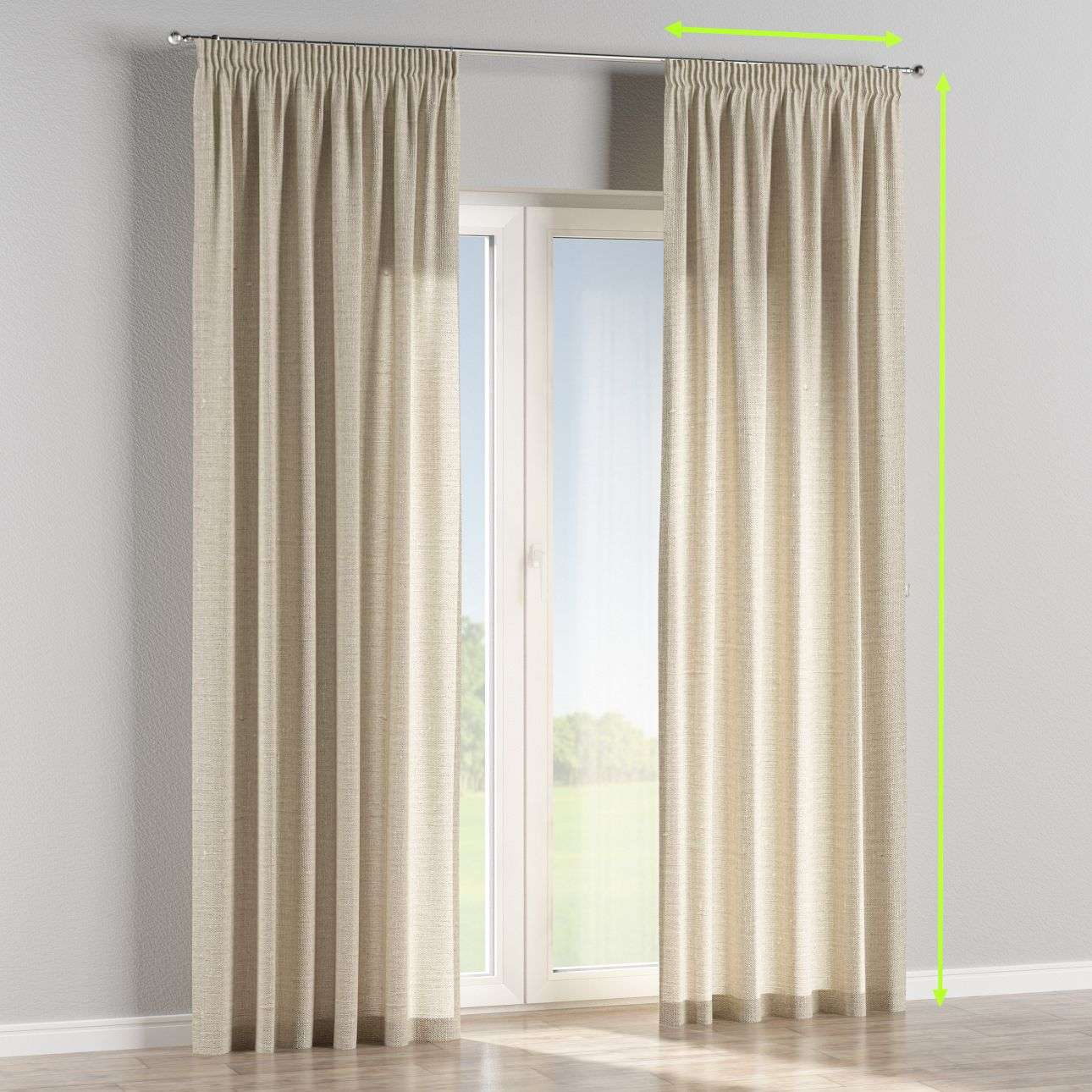 Pencil pleat lined curtains in collection Linen , fabric: 392-05