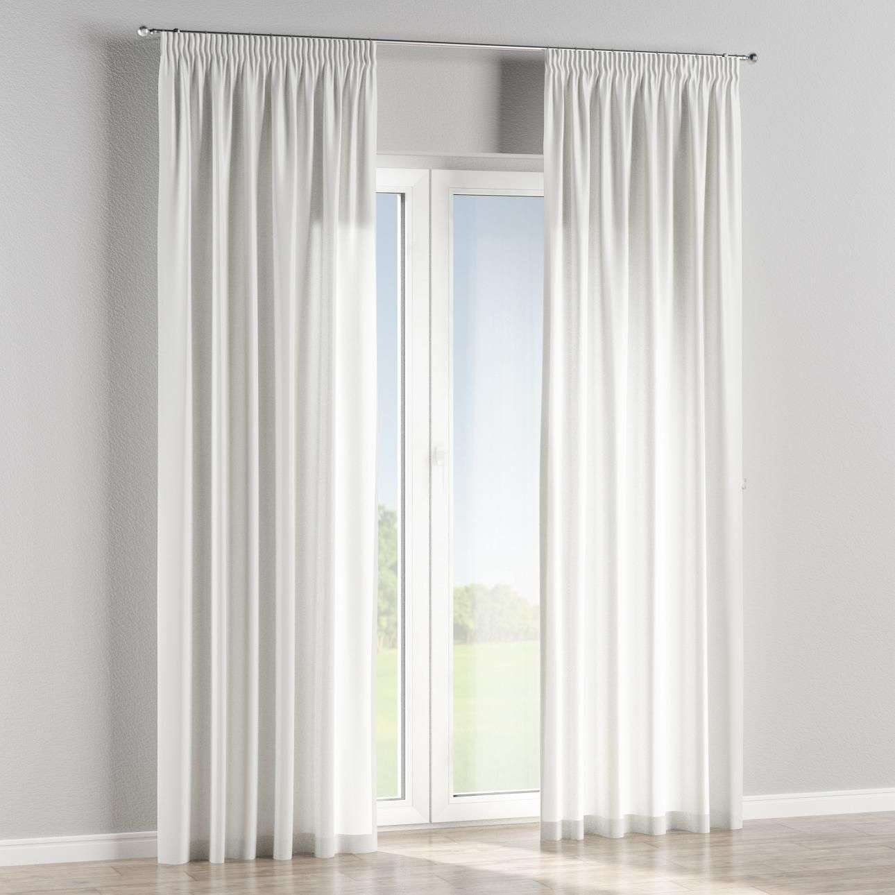 Pencil pleat lined curtains in collection Linen , fabric: 392-09