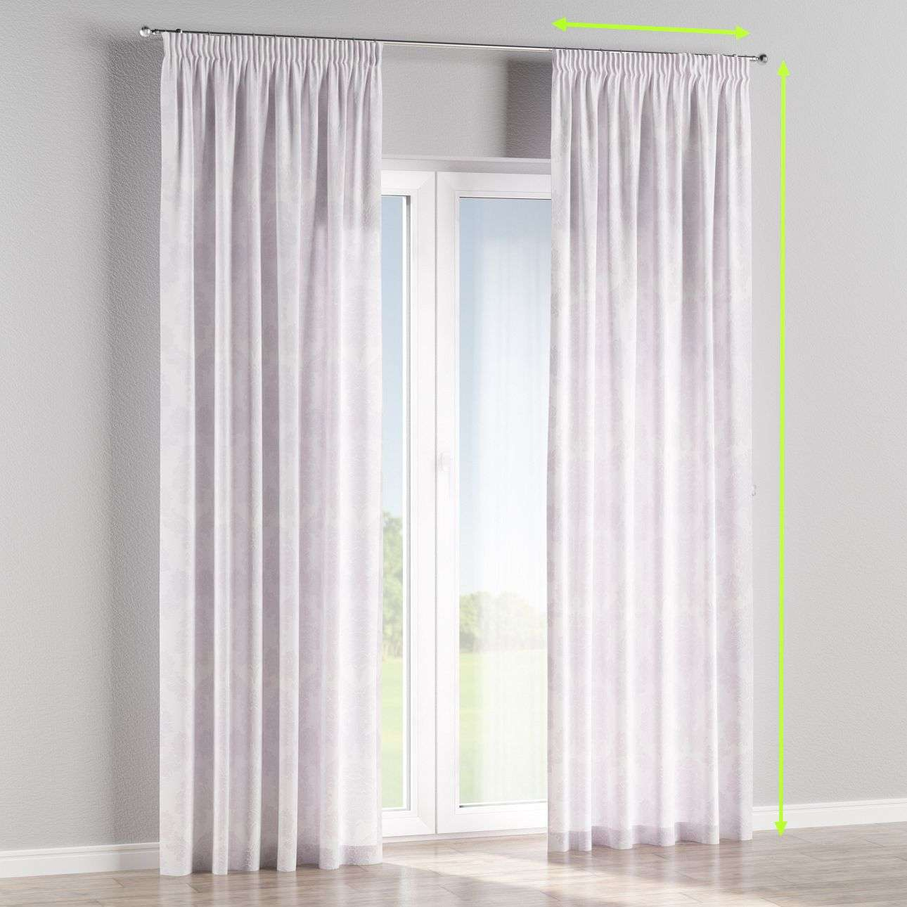 Pencil pleat lined curtains in collection Damasco, fabric: 613-00