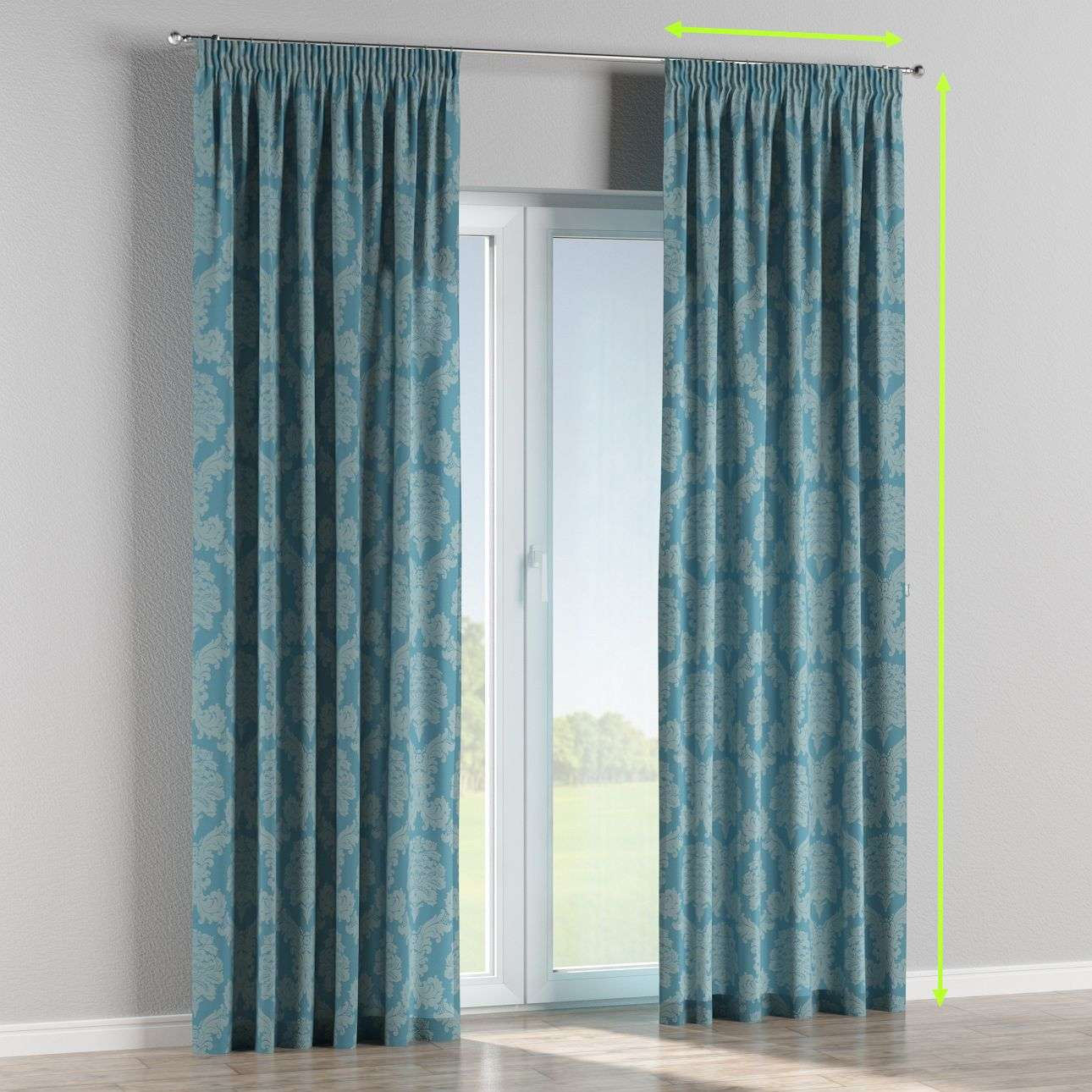 Pencil pleat lined curtains in collection Damasco, fabric: 613-67