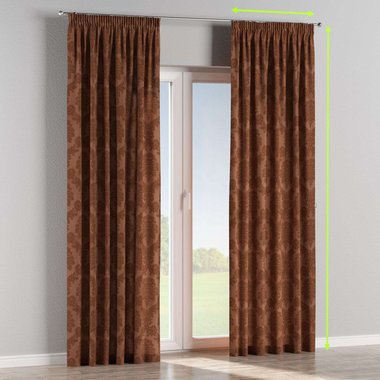 Pencil pleat lined curtains in collection Damasco, fabric: 613-88